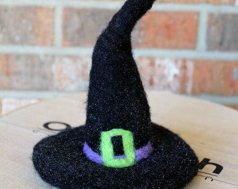 Needle Felted Glitter Witch's Hat Halloween Decor Ready to Ship