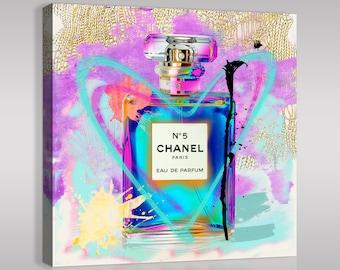 Funky Chanel No 5 blue heart Canvas Pop Art