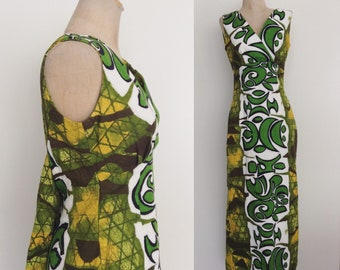 1970's Green Hawaiian Maxi Dress w/ Cape Waterfall Back Size Small Medium by Maeberry Vintage