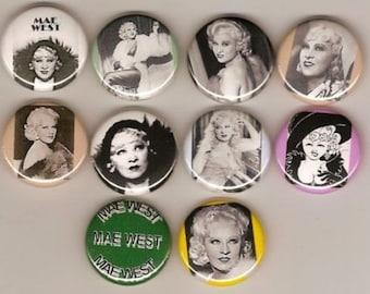 Mae West Movie Star set of 10 Pins Button Badge Pinback