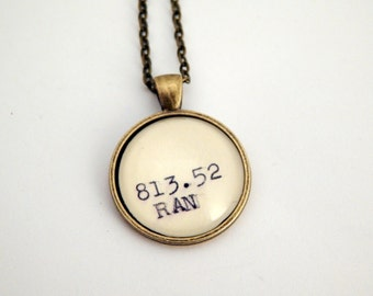Gifts under 20, Ayn Rand necklace, library card catalog, Dewey Decimal system, gifts for readers, intellectual gift, book club gift