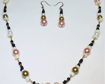 """Antique Gold Heart Locket with White Pearl, Rose Pearl, Metallic, Black, White and Pearl Beads. BobBri's """"I Heart Jola"""" Jewelry Set."""