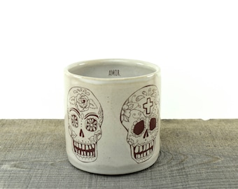 AMOR Sugar Skull mug.  Handmade ceramic coffee mug. Day of the Dead mug. Kellie Day Art.  MADE to ORDER