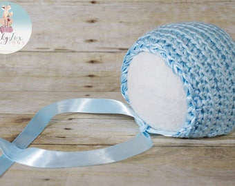 Ribbon Edge Bonnet (Light Blue) Newborn Photography Prop