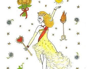 Golden-hearted Leo Queen 11x17 print