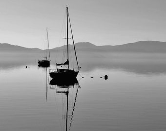 A Lonely Sailboat at Sunrise, A Sailboat on a Calm Morning on Lake Tahoe, Black and White Fine Art Photography - 8 x 10 Print