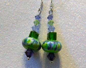 Green, Purple and Aqua Art Glass Lampwork and Crystal Drop Earrings