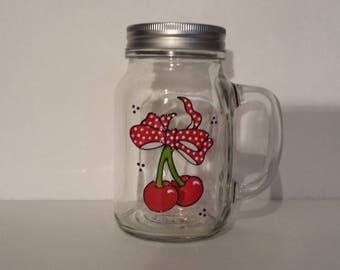 Wonderfull handpainted Rockabilly Cherries on a nice glass mug