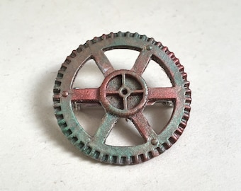 Steampunk resin gear lapel pin