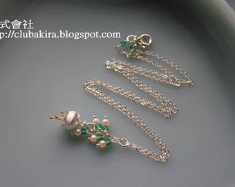 Lily of the valley - Sterling necklace with green onyx & freshwater pearls