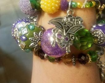 Stackable stretch bracelet handmade Mardi Gras