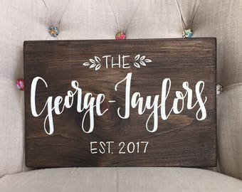 Hand lettered Personalized family name signs, custom wood sign, family established sign, hand painted last name wood sign wedding gift anniv