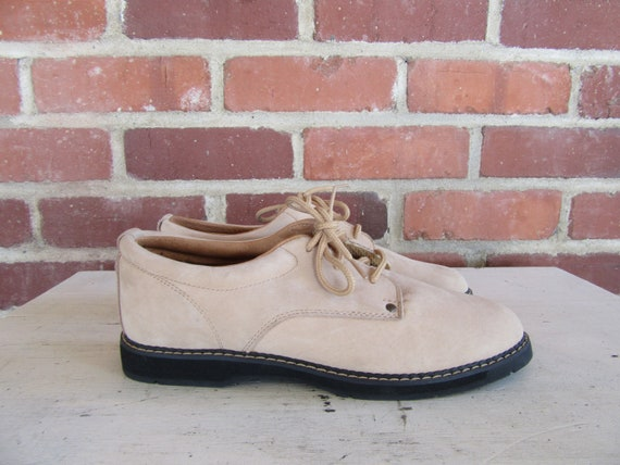 1980s Shoes 1990s 7 Gear EURO Laceup Shoes Light Leather Oxford Leather Leather Oxford Size 1990s 38 LA brown 80s Nubuck Shoes 5 RHwzAcFx