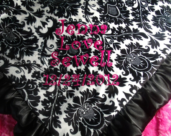 Fuchsia Pink and Black White Damask Minky Baby Blanket Personalized