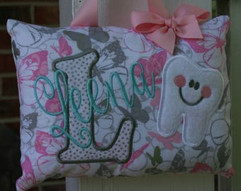 Tooth Fairy Pillow for Girls Personalized - Butterfly - Sparkles - Pink and Gray - Girly -