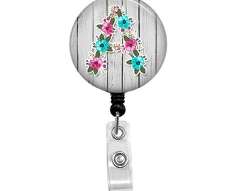 Badge Reel - Id Badge Holder - Badge Holder - ID Badge Reel - Retractable Badge - Nurse - Initial Badge Holder - Nurse Badge - Id Holder