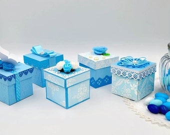 15 Boxes baptism Gift baby blue candy Box favors door confetti Elegant