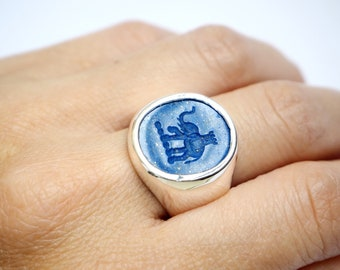 Family Crest Ring Elephant Lapis Hand Carved Signet Sterling Silver 925