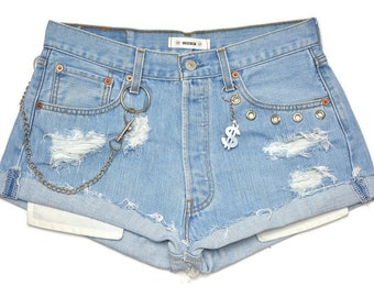 Boyfriend Levi's 501 custom vintage shorts High waisted cutoffs distressed destroyed regular cut off blue chain Jeans rock W32 L Large