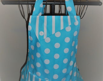 Light Blue and White Polka Dots and Stripes - Women's Apron - Ruffle - Pocket