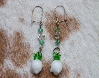 Glass Turnip Earrings