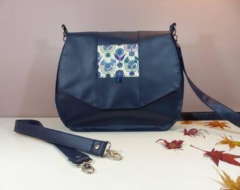 2 in 1 bag / shoulder bag / purse Navy Blue and emerald/blue Liberty