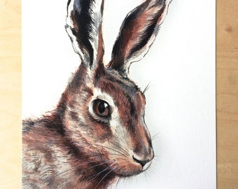 Rabbit fine art archival print, hare charcoal drawing, animal art, giclee print, Illustration
