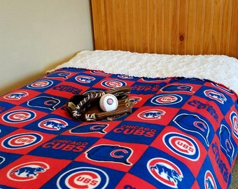 Chicago CUBS Fathers Day Gift Baseball Adult Faux Fur Minky and Fleece Blanket Gift for Husband Dad Brother Wife Son Dodgers Mets Yankees