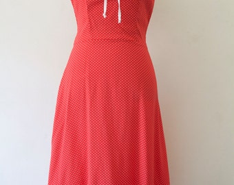 Red Polka Dot Dress with white Polka Dots with Ruffle Detail