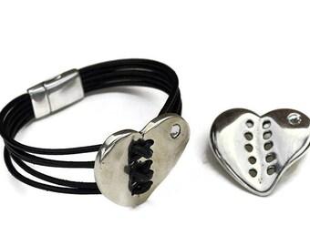 Stitched Heart Connector/Bracelet Component - SWAROVSKI Crystal -  High Polished - Sterling Silver Plated - Qty. 1