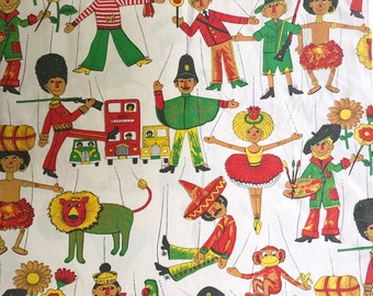 Vintage bed sheet Single Twin size Cotton Child PUPPETS