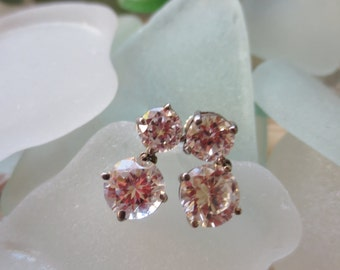 Vintage Sterling Earrings Silver Cubic Zircons Post Clutch Dangles