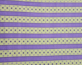 Dotted Stripe Lavender and Green -  High Quality Quilt Fabric - by the yard