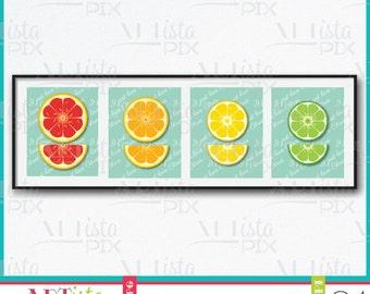 Citrus Fruit Wall Art, Fruit Wall Art, Grapefruit, Orange, Lemon, Lime, Wall Art, Digital Download