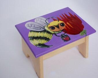 Hand-Painted Bumblebee Step Stool / Foot Stool