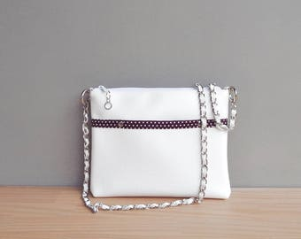 White Summer Purse, Vegan Crossbody Bag with Polka Dot Lining, Faux Leather Shoulder Bag with Custom Silver Chain Strap, Handmade Vinyl Bag