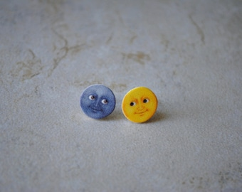 Moon Emoji Earring Studs