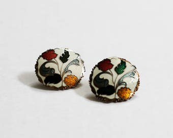 Vintage Cloissone Enamel Flower & Leaf Multicolored Earrings