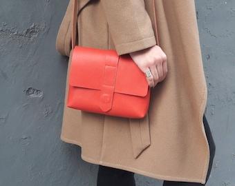 Handmade Leather Bag, Crossbody Leather Purse, Red Handbag