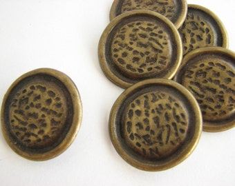 Large bronze buttons with shanks, 6 big metal buttons in bronze colour, 18 mm across