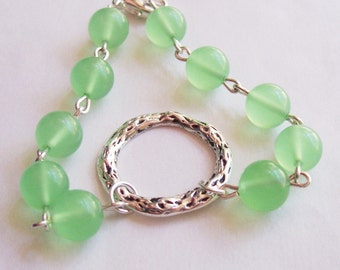 Chrysoprase Jewelry Green Bracelet - Circle Infinity Silver Beads - Pastel For Her Semiprecious Stone