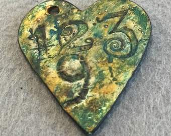 Numbers Heart Shaped Polymer Clay Pendant