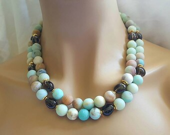 25% Off Sale Multistrand Amazonite and Smoky Quartz Statement Necklace Earth tones Gift for Her