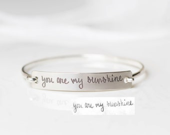 Signature Bangle - Actual Handwriting Bangle - Custom Handwriting Bangle in Sterling Silver - Personalized Gift - VALENTINES GIFTS