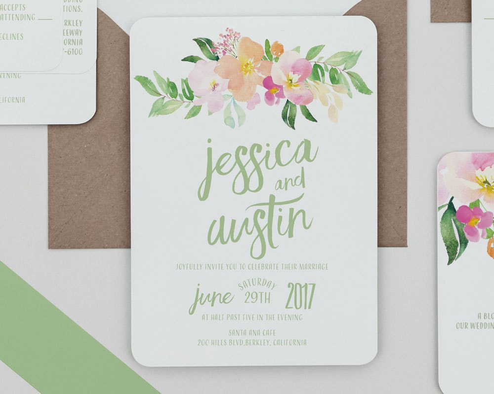 Boho Rustic Blush and Peach Floral Wedding Invitations Pastel