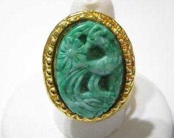 Ring Oriental Inspired Carved Lucite Mythical Ram Goat Smelling Flowers Vintage 1980's Adjustable