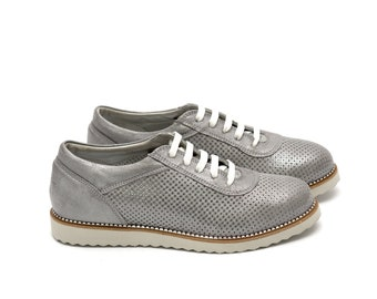 Women Silver Oxford Genuine Leather Shoes with hole decoration by Galdi , 2598-1