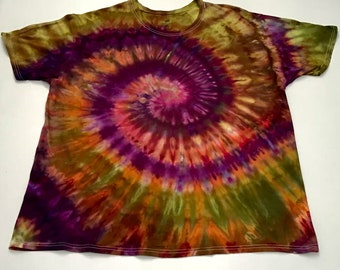 XXL Mens Tie Dye Ice Dye Rainbow Spiral T Shirt Hand Dye Tie Dye T Shirt Unisex Spiral  Multicolor Chartreuse Purple Gold Tie Dye T Shirt