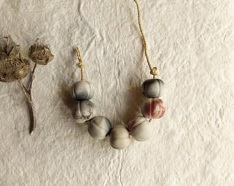 ceramic beads; handmade; artisan beads;melon beads; primitive earthy