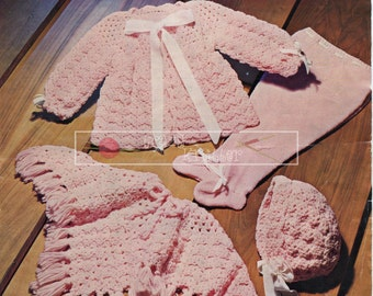 """Baby Set and Poncho 4ply 18-20"""" Bronte 639 Vintage Knitting Crochet Pattern PDF instant download"""